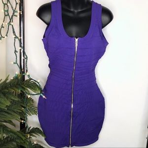 BEBE Purple Form-Fitting Dress with CutOut Back